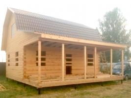 Дом из бруса 7 на 9 с террасой в Рязанской области