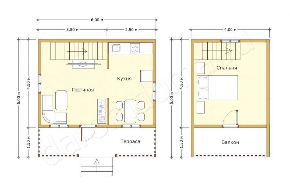 Планировка дома из бруса 6х6 по акции